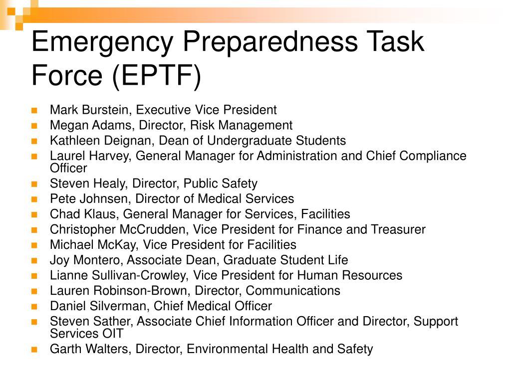 Emergency Preparedness Task Force (EPTF)
