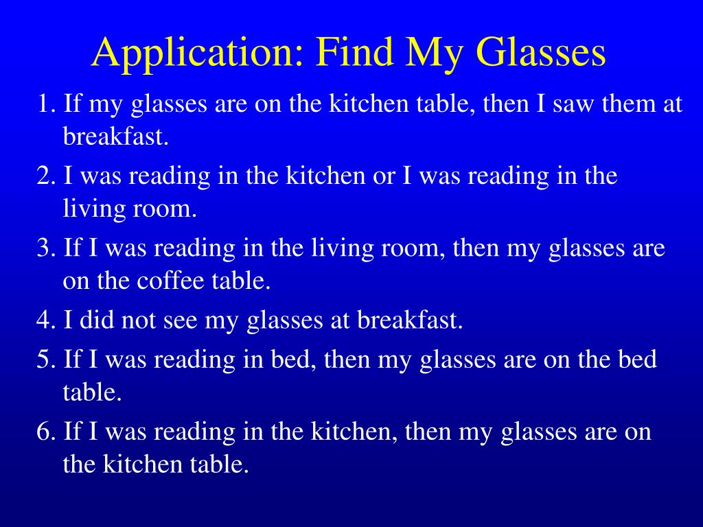 Application: Find My Glasses