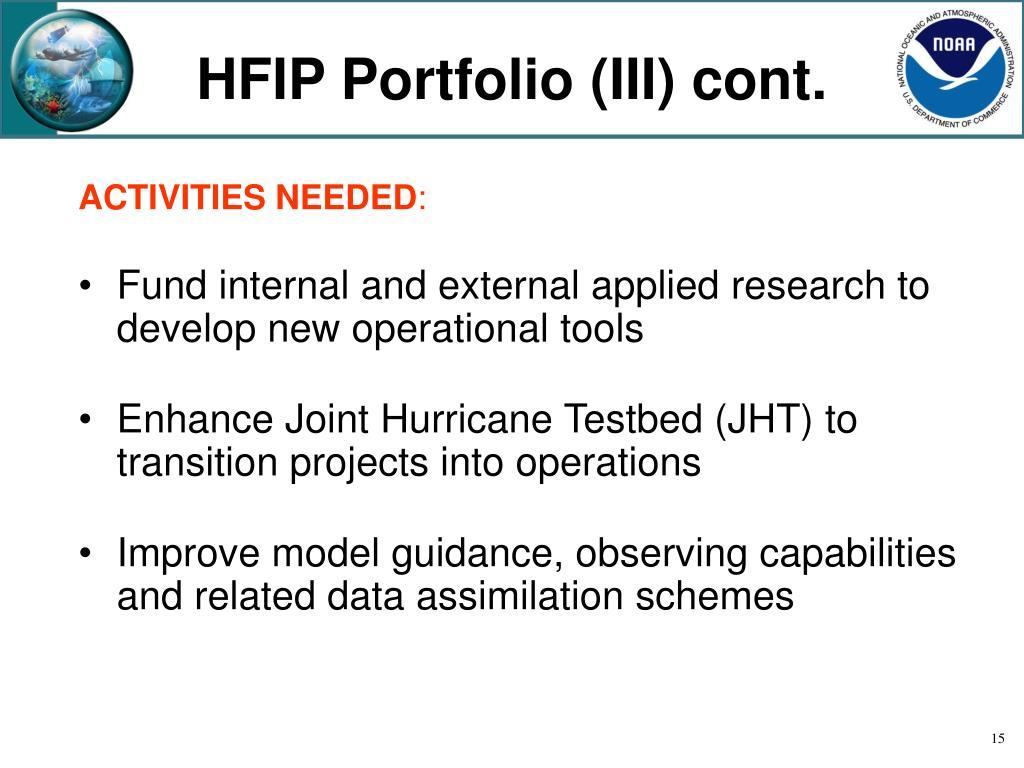 HFIP Portfolio (III) cont.