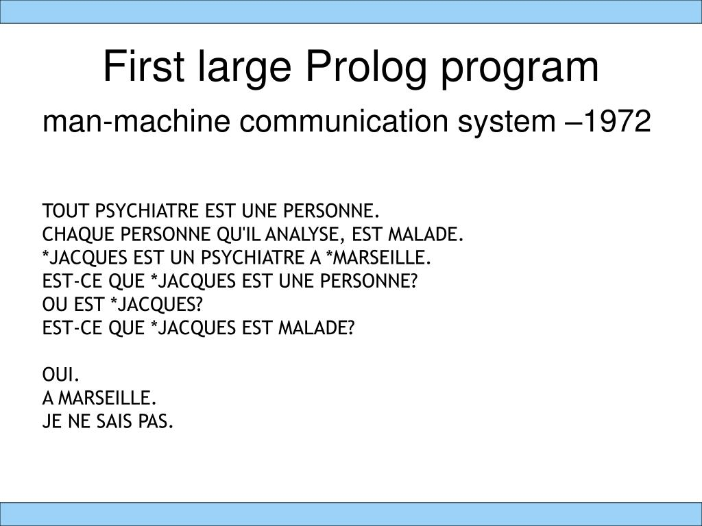 First large Prolog program