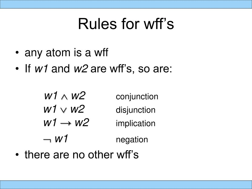 Rules for wff's