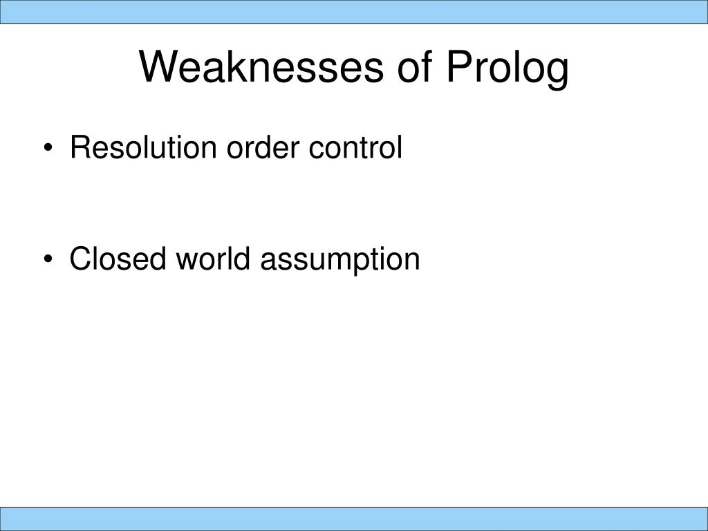 Weaknesses of Prolog