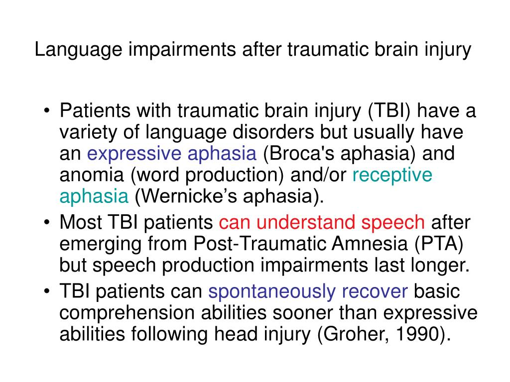 Language impairments after traumatic brain injury
