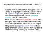 language impairments after traumatic brain injury
