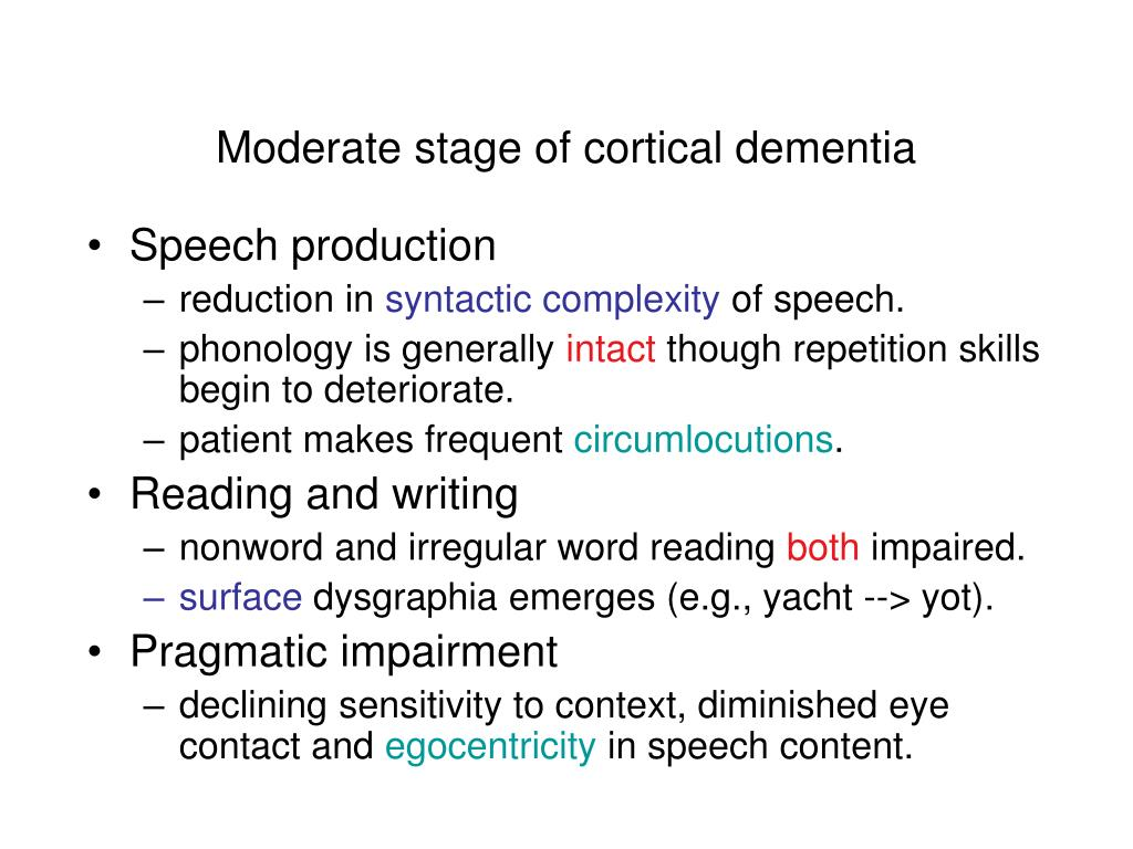 Moderate stage of cortical dementia