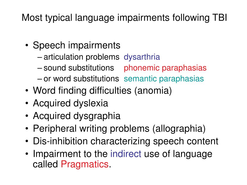 Most typical language impairments following TBI