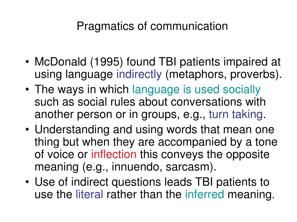 Pragmatics of communication