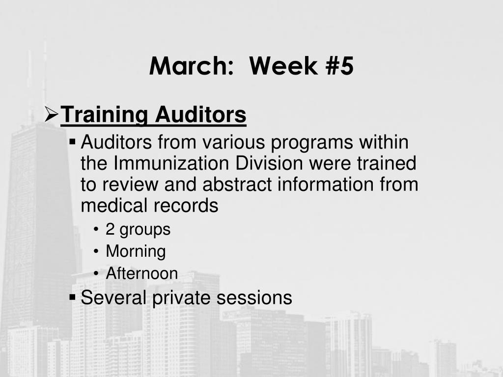 March:  Week #5