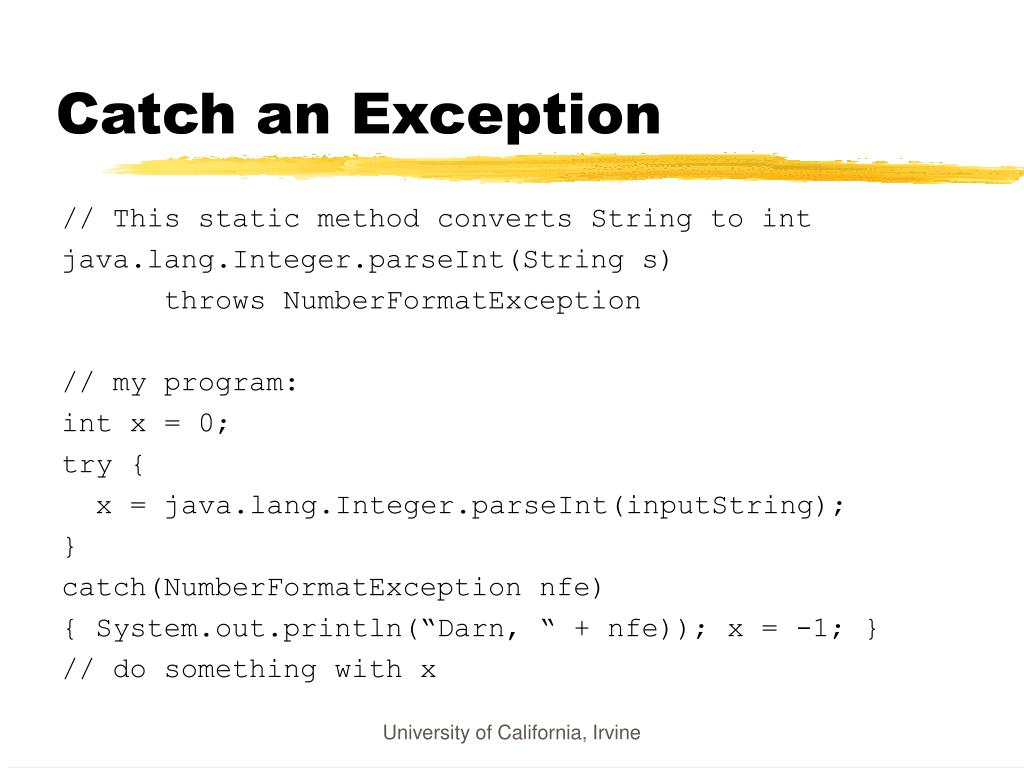 Catch an Exception