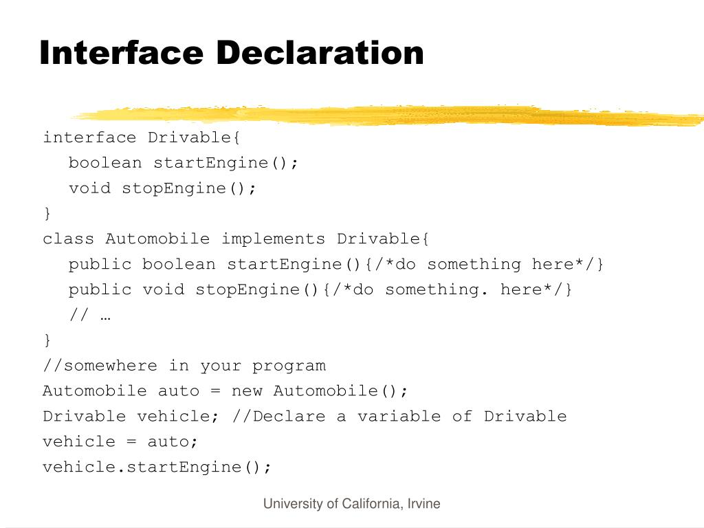 Interface Declaration
