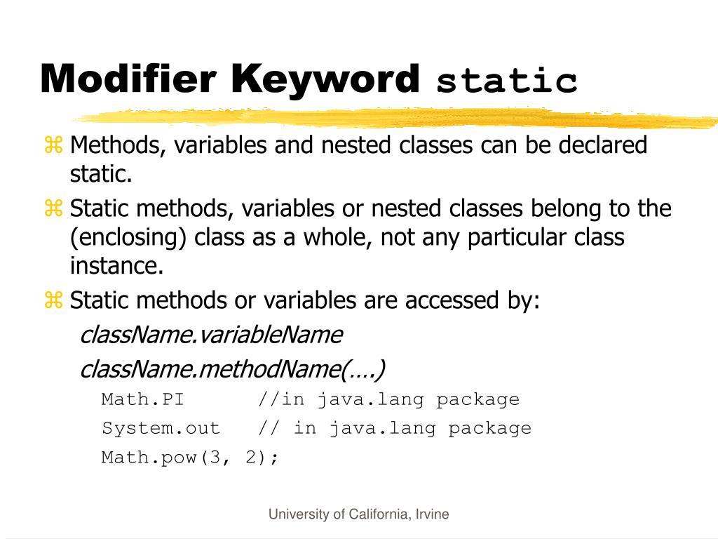 Modifier Keyword