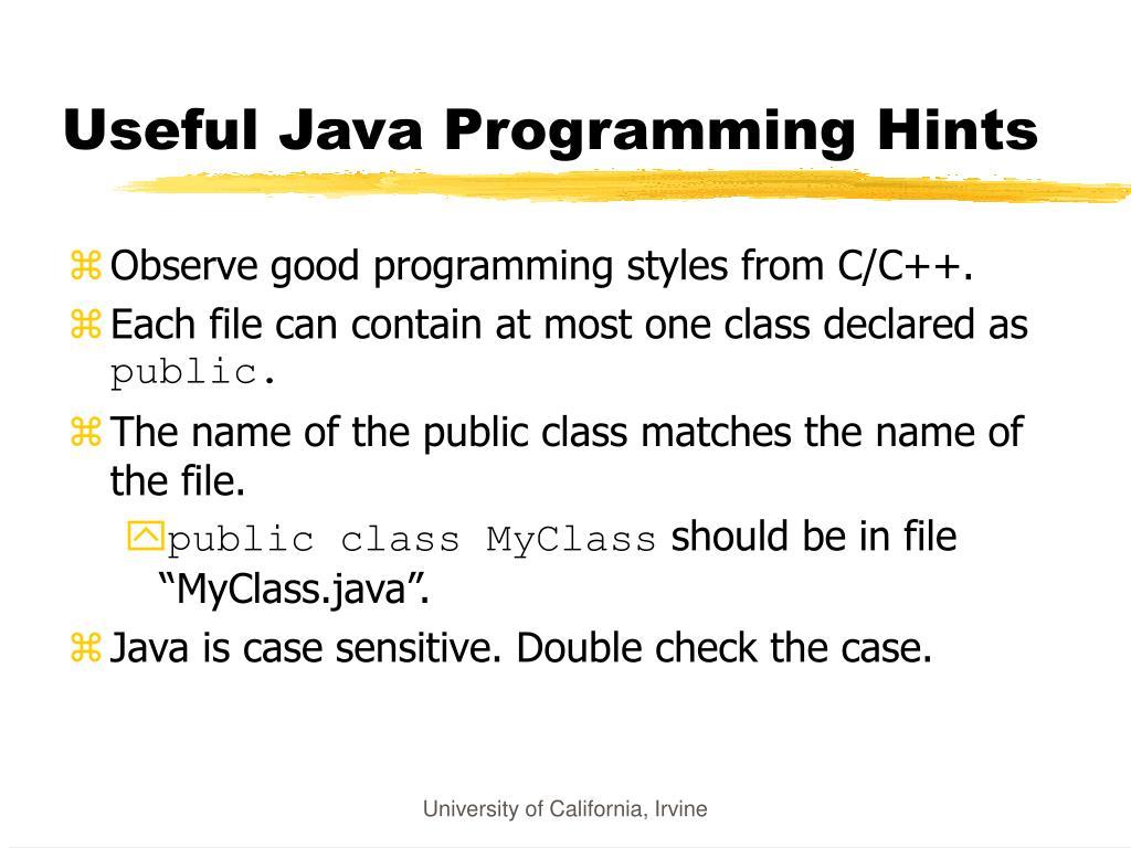 Useful Java Programming Hints