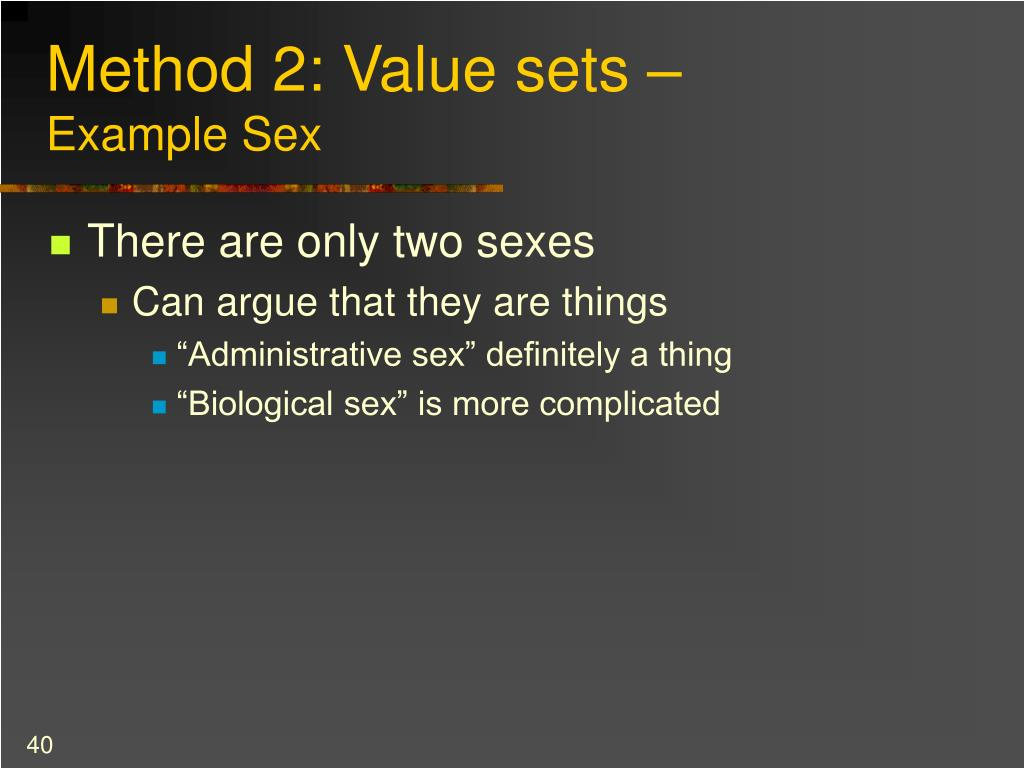 Method 2: Value sets –