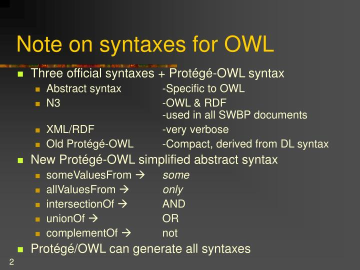 Note on syntaxes for owl