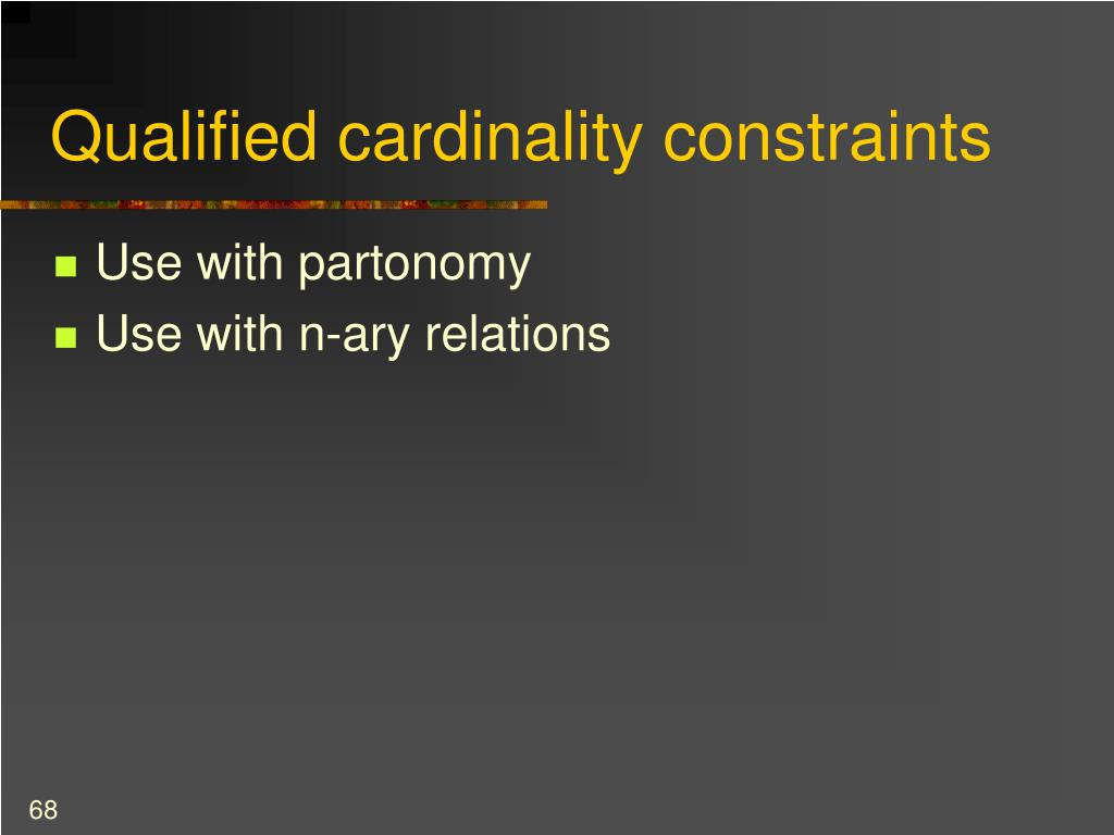 Qualified cardinality constraints
