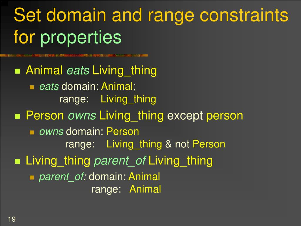 Set domain and range constraints for