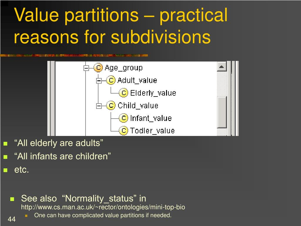 Value partitions – practical reasons for subdivisions
