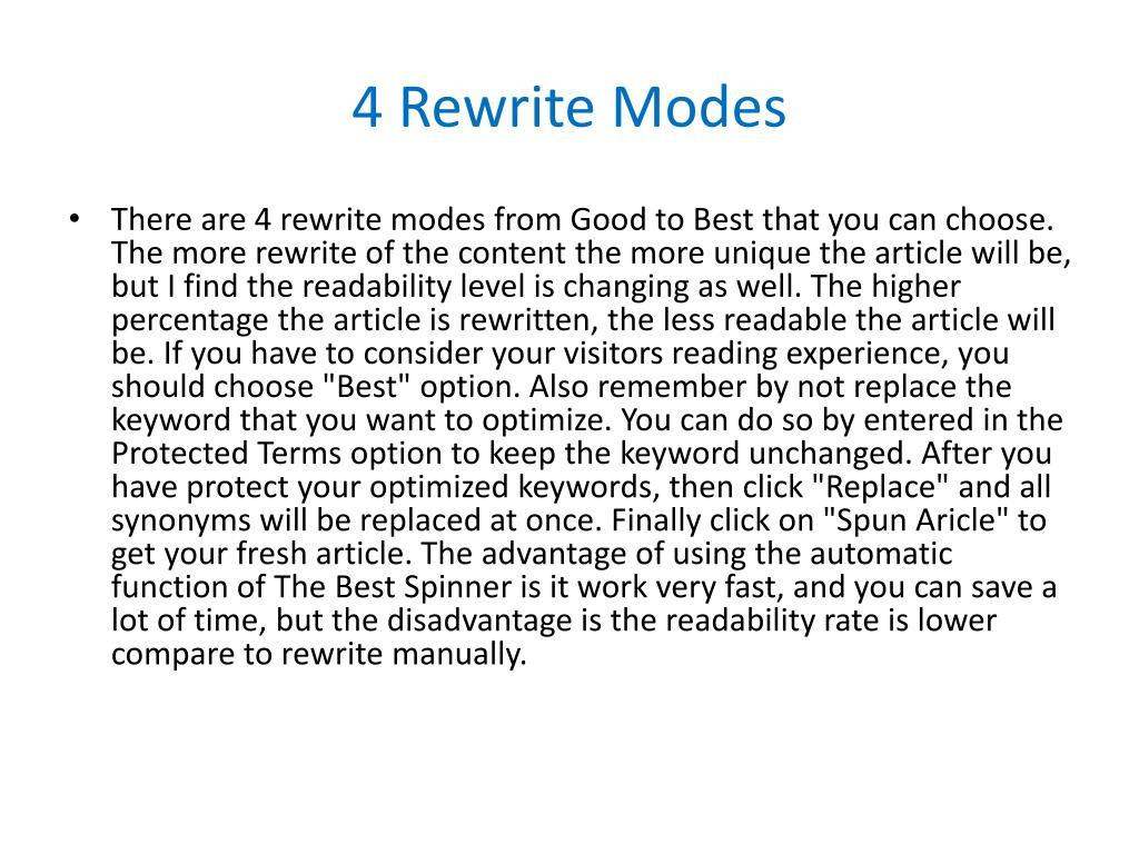 4 Rewrite Modes