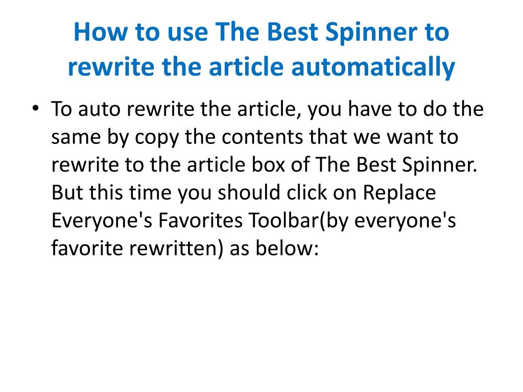 How to use The Best Spinner to rewrite the article automatically