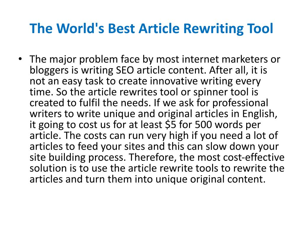 The World's Best Article Rewriting Tool