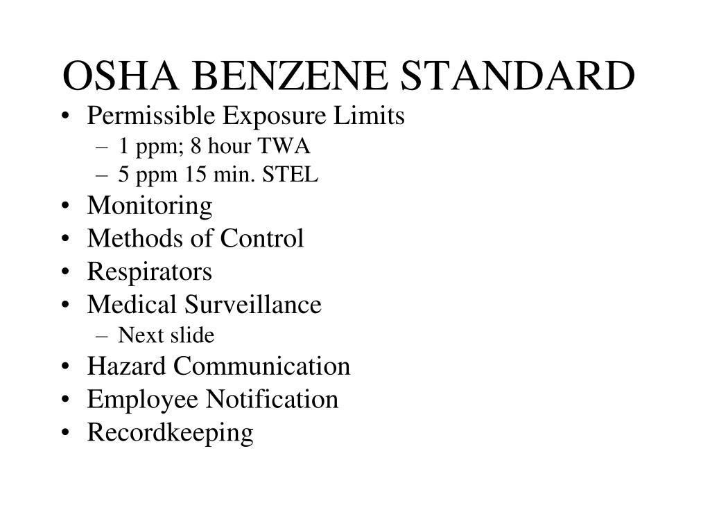 OSHA BENZENE STANDARD