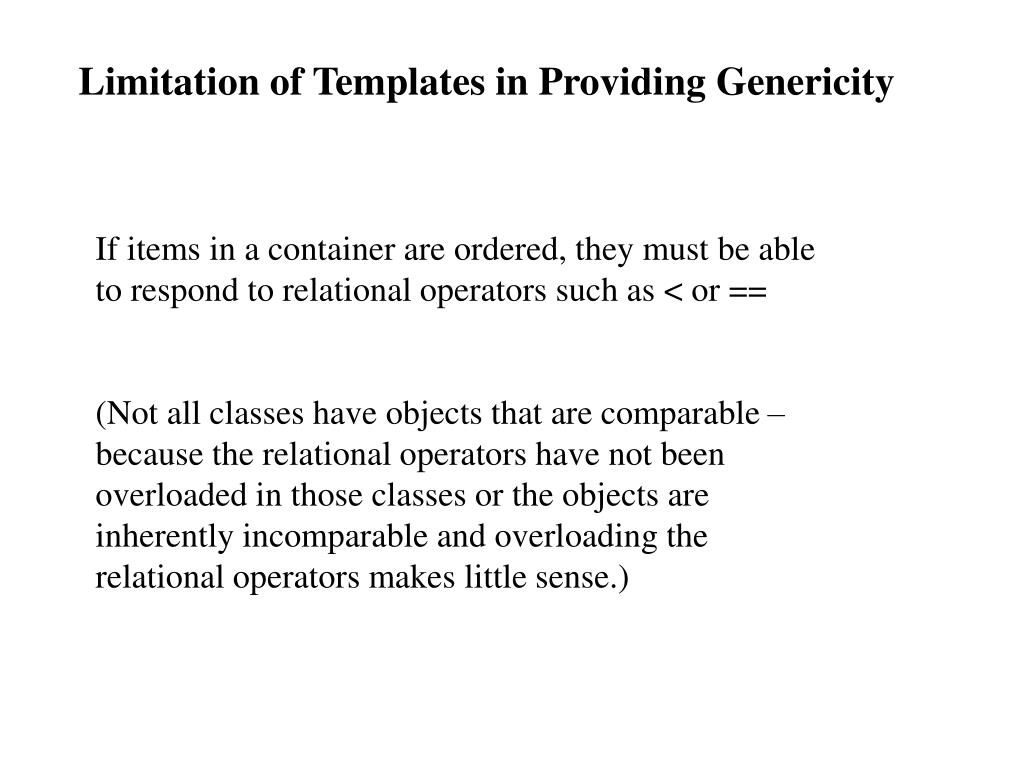 Limitation of Templates in Providing Genericity