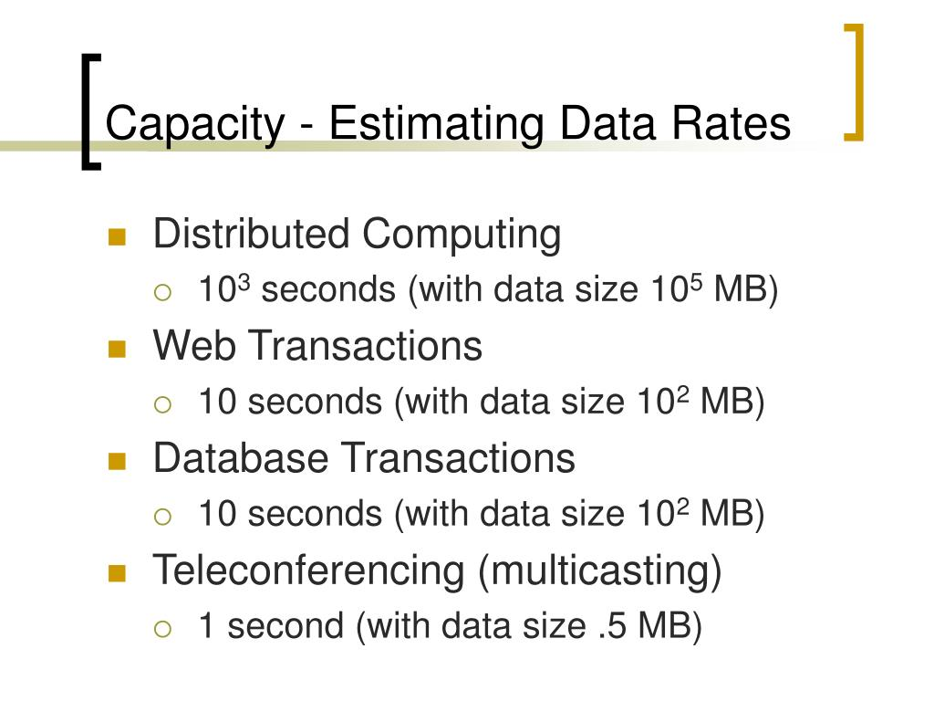 Capacity - Estimating Data Rates