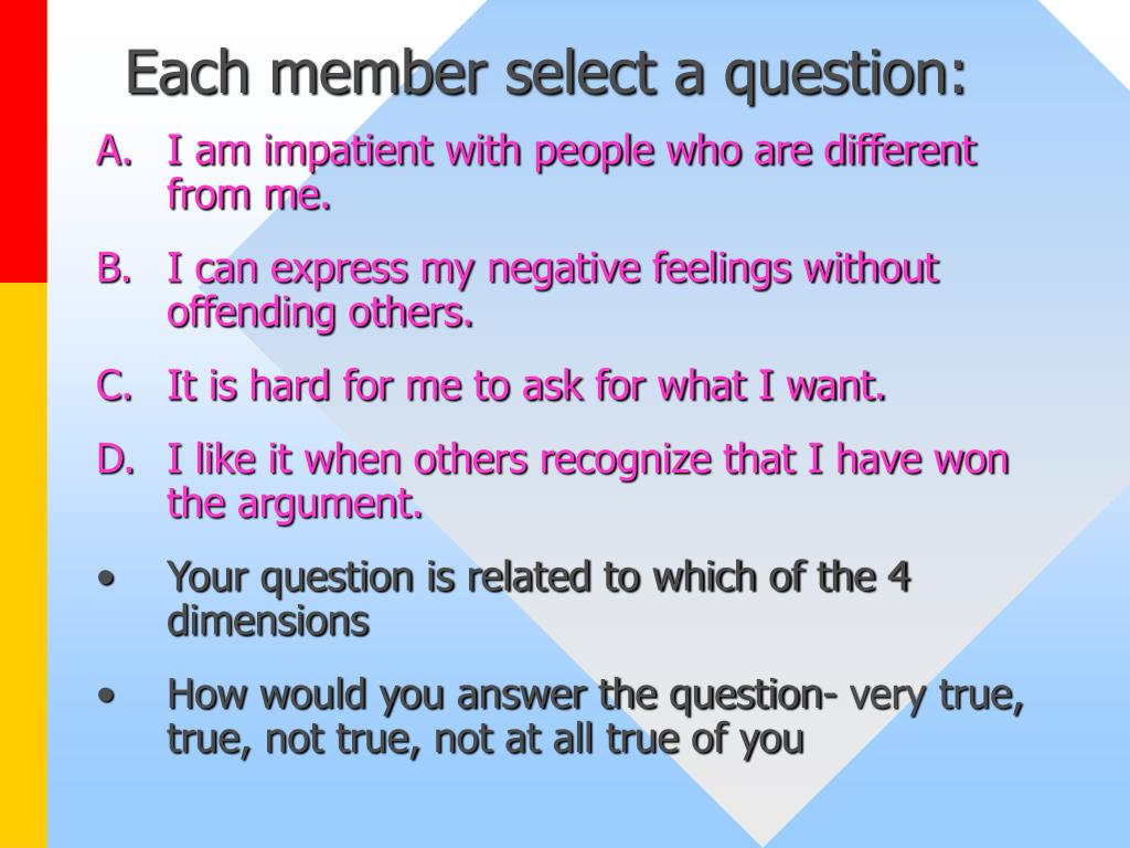 Each member select a question: