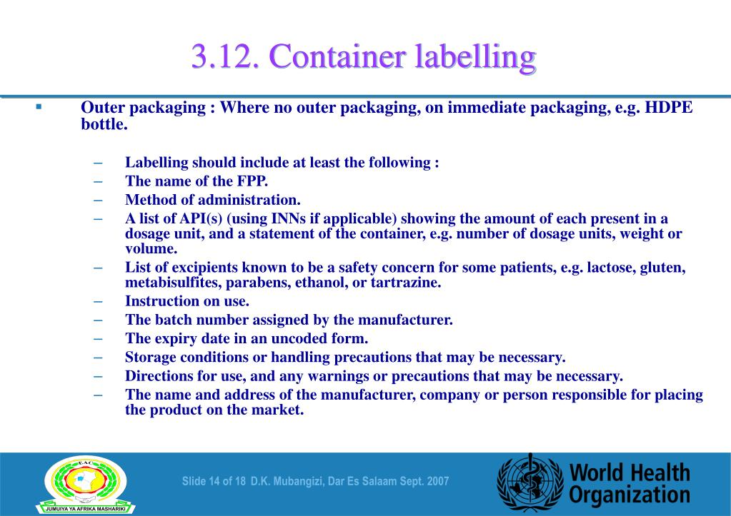 3.12. Container labelling