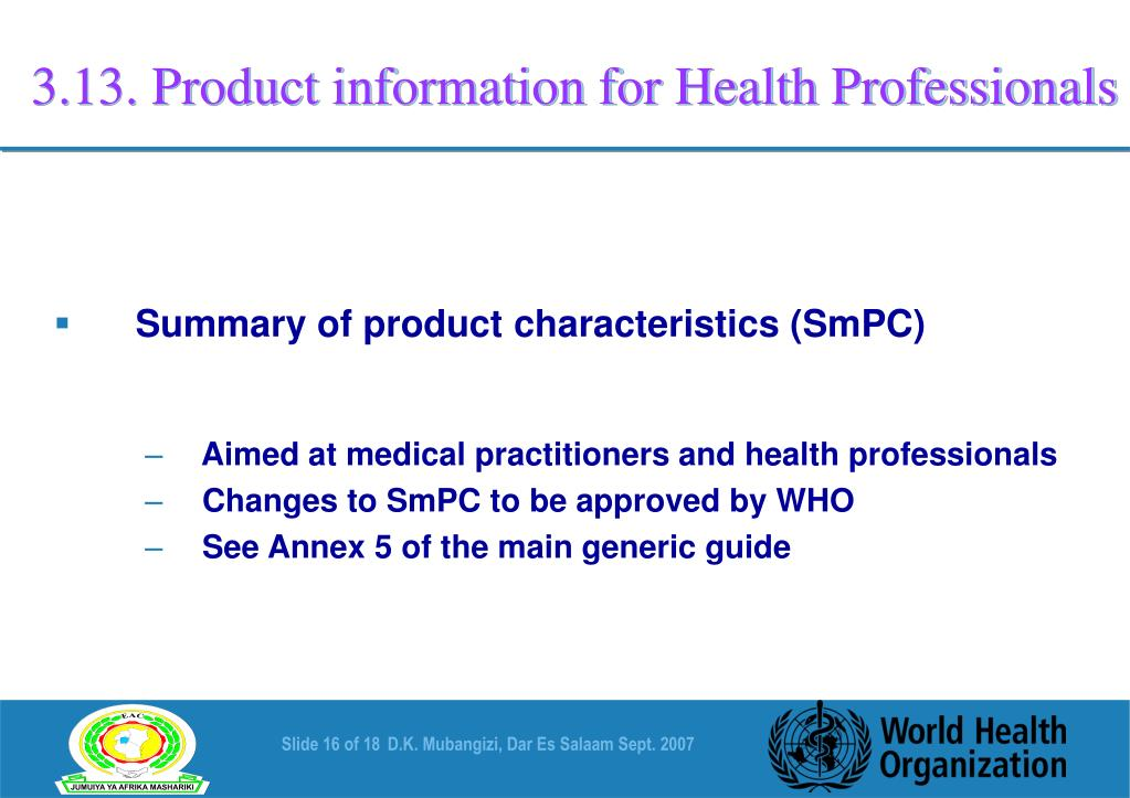 3.13. Product information for Health Professionals