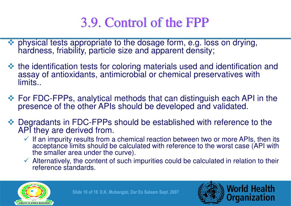 3.9. Control of the FPP
