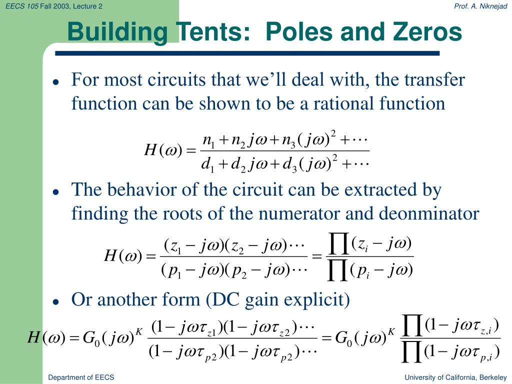 Building Tents:  Poles and Zeros