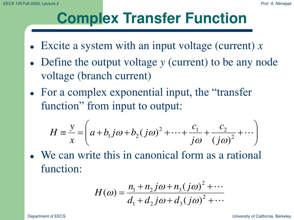 Complex Transfer Function