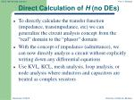 direct calculation of h no des