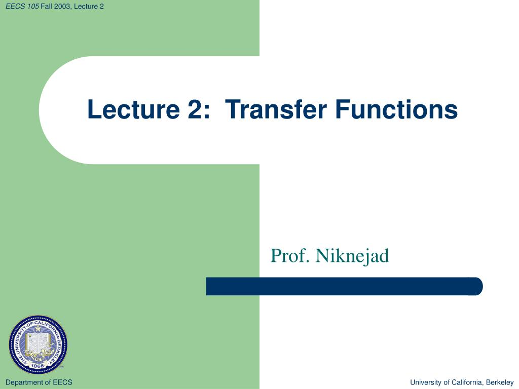 lecture 2 transfer functions
