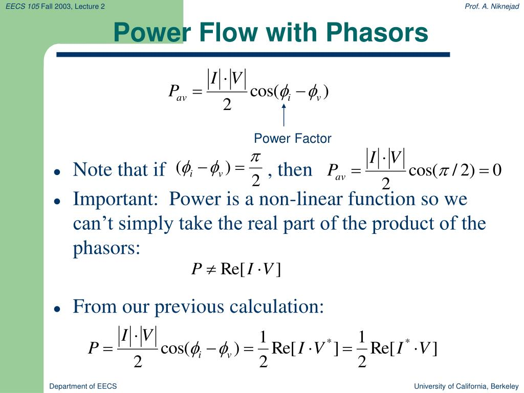Power Flow with Phasors