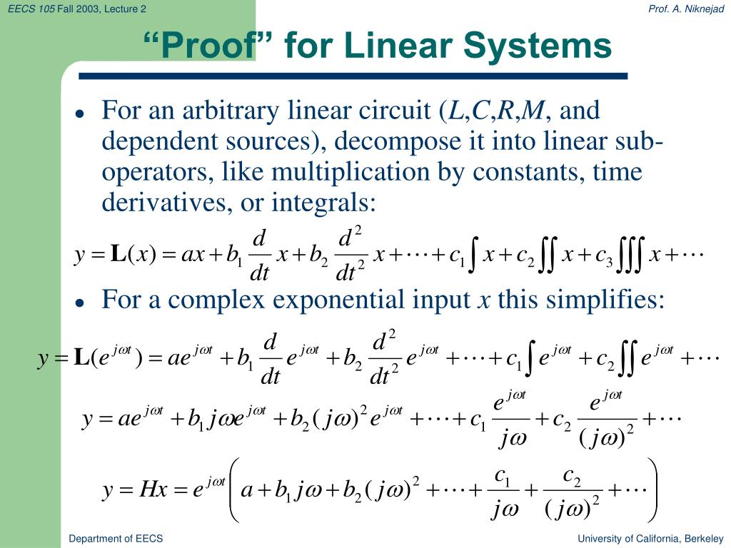 """Proof"" for Linear Systems"