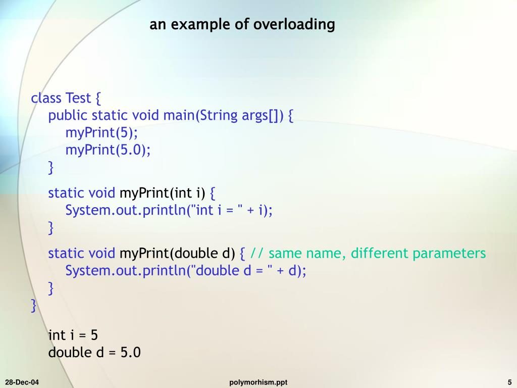 an example of overloading