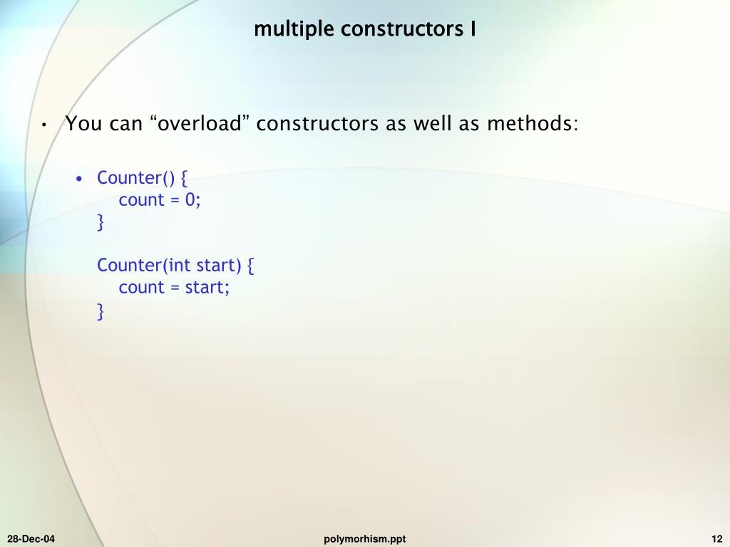 multiple constructors I