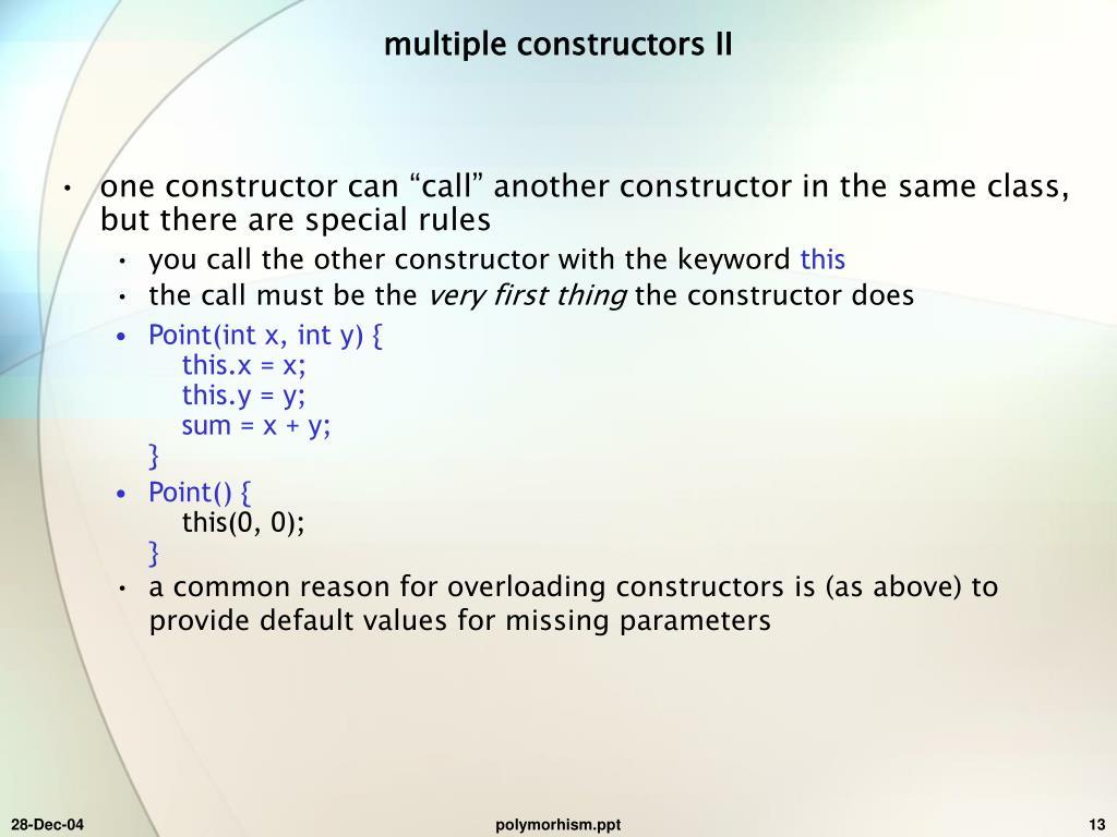multiple constructors II