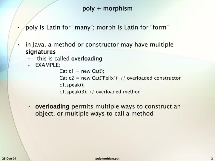 Poly morphism