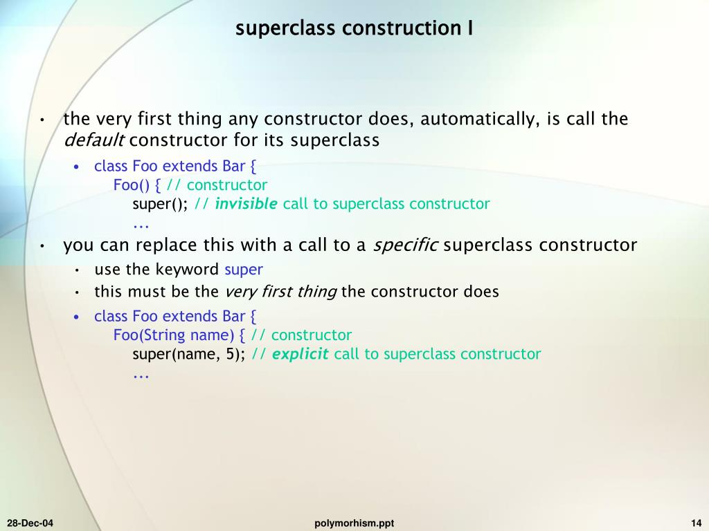 superclass construction I