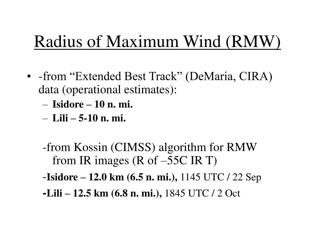 Radius of Maximum Wind (RMW)