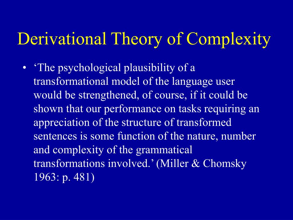 Derivational Theory of Complexity