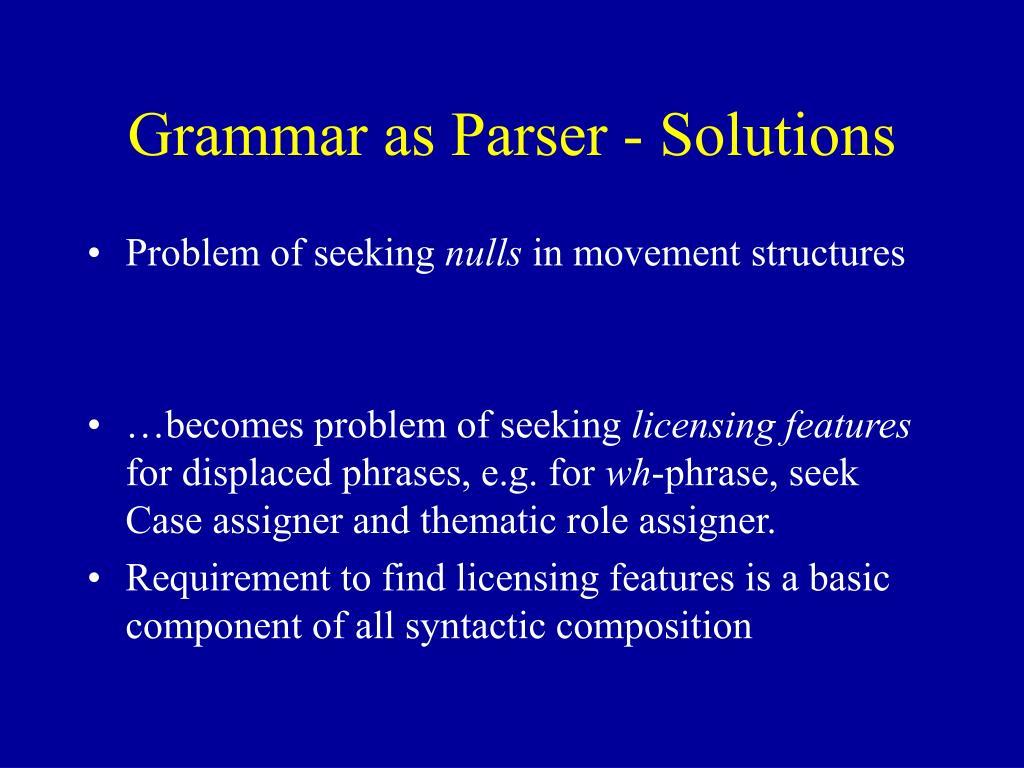 Grammar as Parser - Solutions
