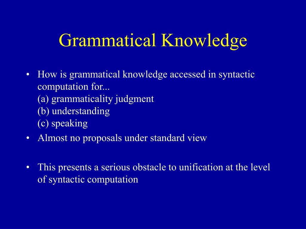 Grammatical Knowledge