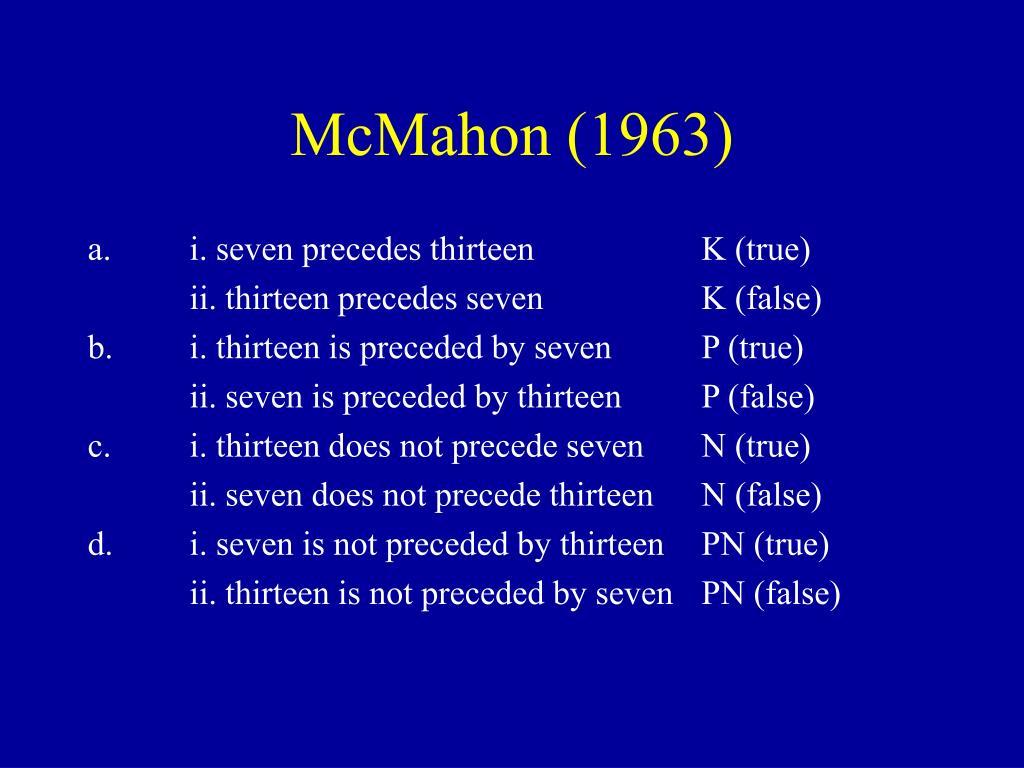 McMahon (1963)