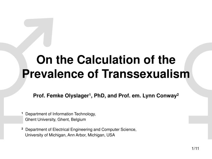 On the calculation of the prevalence of transsexualism