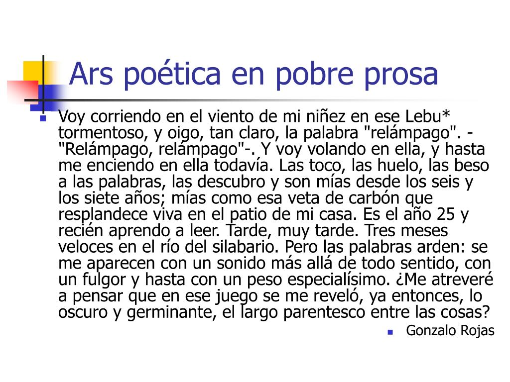 Ars poética en pobre prosa