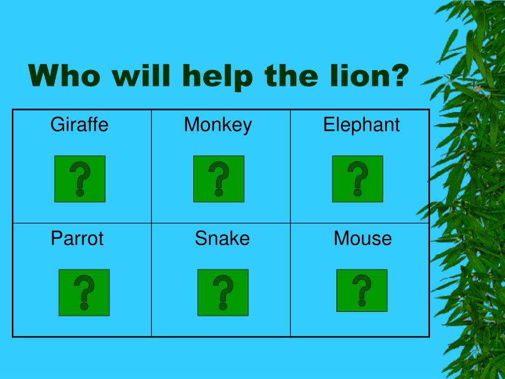 Who will help the lion?